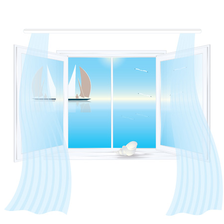 Open window outside the sea landscape reflection in the glass curtains on the window sill shell isolated on a white background art creative vector element for design