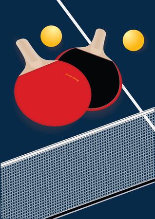 Table tennis racket mesh balls isolated on dark blue background Art creative vector illustration
