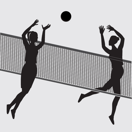 Sketch of two women playing ball through volleyball net isolated on white background art vector creative. Element for design Stock Photo