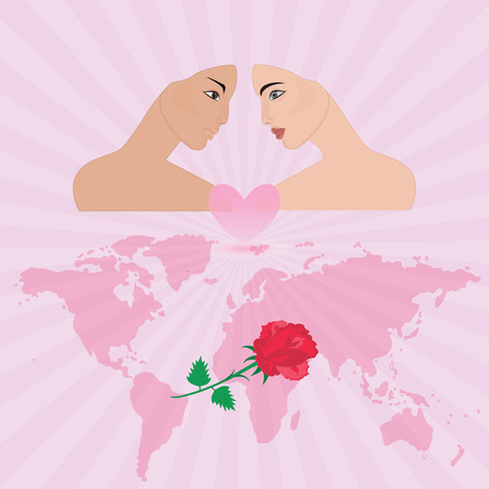 enamored: Couple in love face young girl pink background rays of the rising sun world map rose art creative modern vector illustration Postcard Congratulatory Poster Wedding Birthday