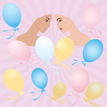 Couple in love face young girl pink background rays of the rising sun balloons art creative modern vector illustration Postcard Congratulatory Poster Wedding Birthday