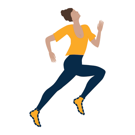 running sports woman isolated on white background art creative vector illustration modern minimalist flat style element for design