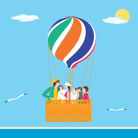 Family parents small children travel on a balloon marine background gulls sun art creative modern vector illustration