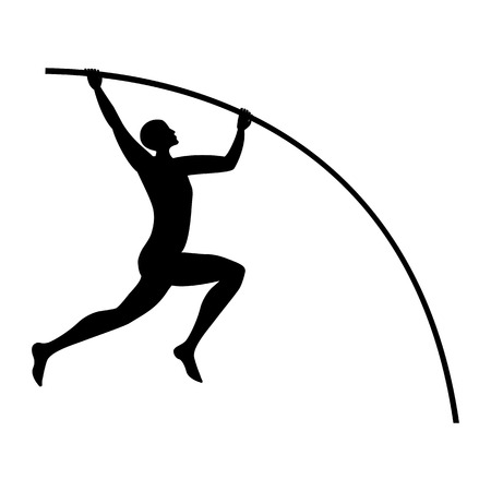 Athlete jumping with a pole isolated on white background art creative modern vector element for design