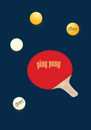 Racket and balls for table tennis dark background art creative vector