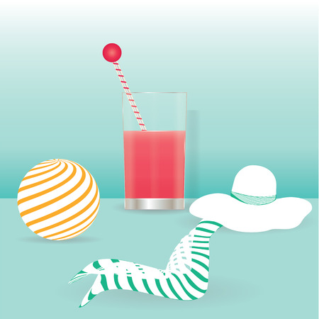 White summer hat ball glass juice background lightly lettuce art creative modern abstract vector illustration minimalism flat style