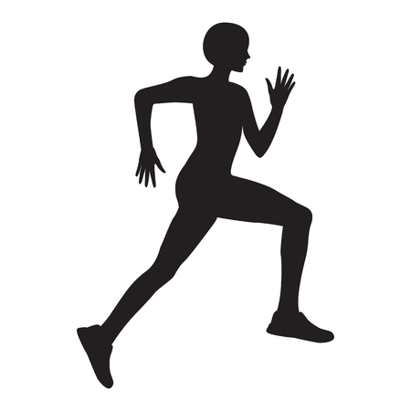 Silhouette of sporty running girl, isolated on white background. Artistic creative vector illustration of a modern minimalist flat style Illustration