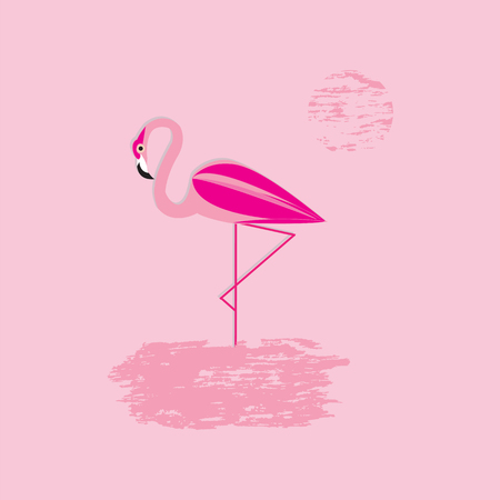 monophonic: Background pink flamingo sun art creativity modern abstract vector illustration minimalism flat style