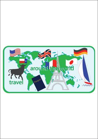 Affiche touristique. Drapeaux de carte du monde et symboles de passeport de différents pays Tour Eiffel yacht inscription tourisme voyager à travers le style plat du monde art créatif moderne vector illustration
