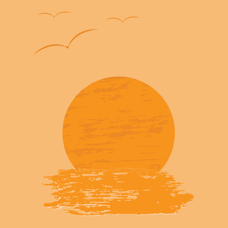 show bill: Background orange sun water birds art creativity modern abstract vector illustration minimalism flat style Vectores
