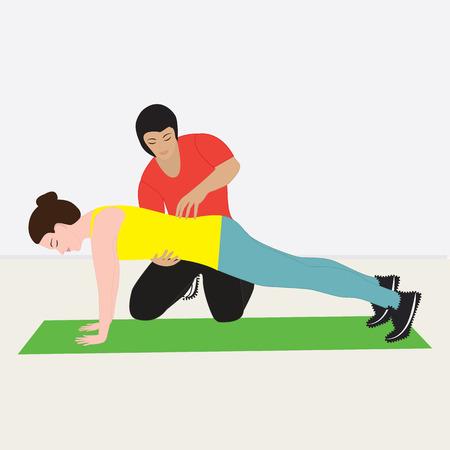 Entraîneur de fitness personnel tient des classes avec la fille debout sur les mains Art moderne vecteur créatif illustration fond plat de style ...