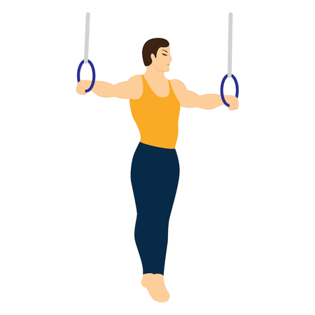 Gymnast exercise on rings isolated on white background art creative vector