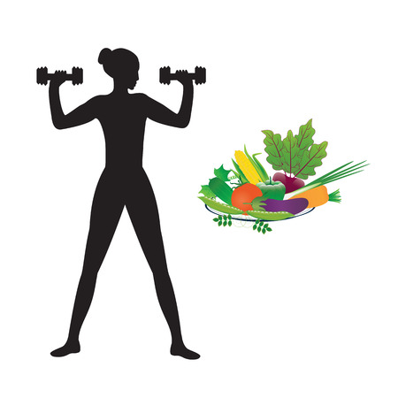 Sport healthy food sketch female dumbbell multicolor set of fresh vegetables isolated on white background art creative modern vector