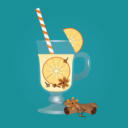 Cocktail fruit light yellow in a glass of cinnamon vanilla orange isolated on a green background art creative modern vector
