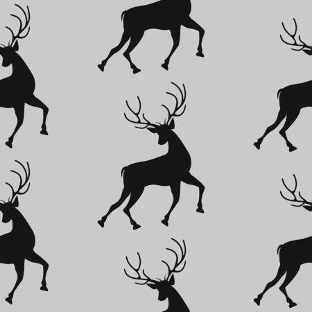 Pattern of a running deer on a light background - art abstract creative modern vector illustration