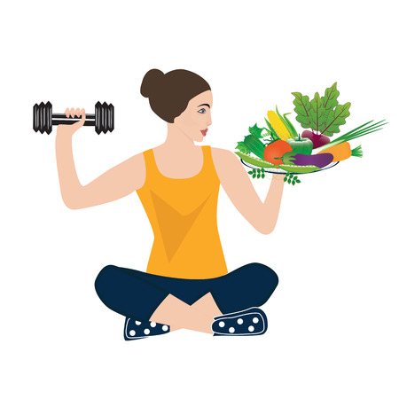 crossbar: Sport yoga healthy food woman holding a dumbbell and a set of fresh vegetables isolated on a white background art creative modern vector Illustration