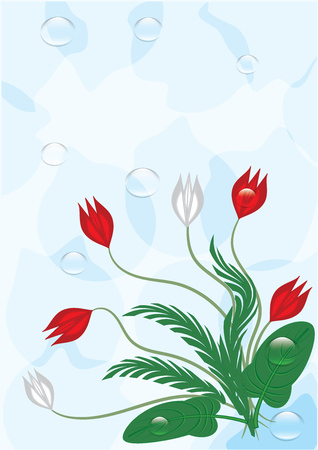 Bouquet of abstract flowers drops of dew on a gently blue background art creative vector illustration