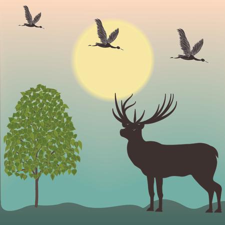 Landschap vroege ochtend herten vliegen shadoof loofboom kunst creatieve moderne illustratie vector Stock Illustratie
