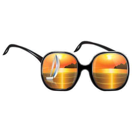 Sunglasses with reflection of seascape sunset sailboat isolated on white background art abstract creative modern vector Illustration