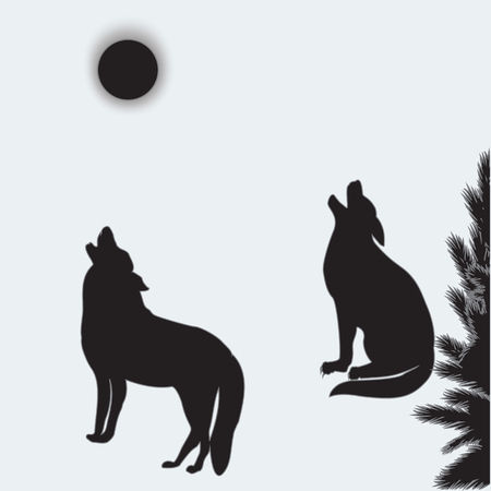 ferocious: Wolves howl at the moon two silhouettes isolated on white background art abstract creative modern vector