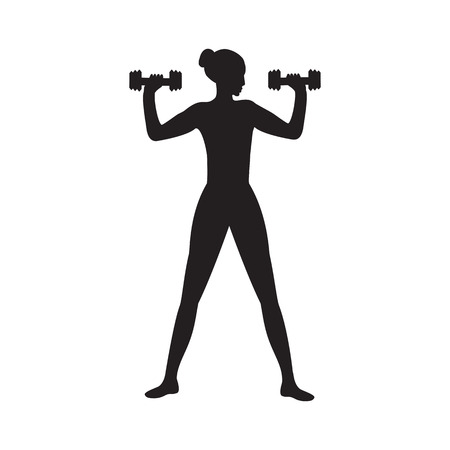 sketch Sport weightlifting woman dumbbells isolated on white background art modern creative vector