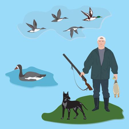 ranger: Set Huntsman with gun holds duck in hands, dog, fly ducks, goose, art creative modern vector illustration, flat style. Hunting banner Illustration