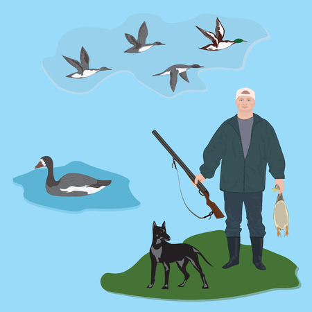 Set Huntsman with gun holds duck in hands, dog, fly ducks, goose, art creative modern vector illustration, flat style. Hunting banner Illustration
