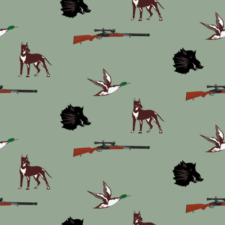 travel features: Pattern hunting attributes head of wild boar, shotgun, dog, wild duck on light background art abstract creative modern vector illustration