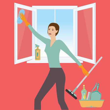 Woman washes open window, cleansers for apartment, windshield wiper, brush, sponge, art creative modern vector illustration