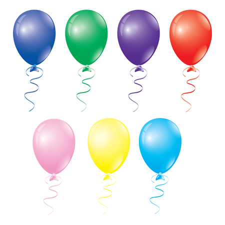 Multi-colored balloons isolated on white background abstract vector Ilustração