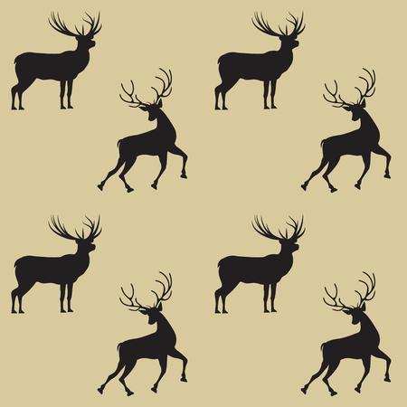 Pattern two deer on a light background - art abstract creative modern vector illustration Illustration
