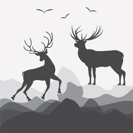 Deer rock birds on a light background - art abstract creative modern vector. Travel Poster.