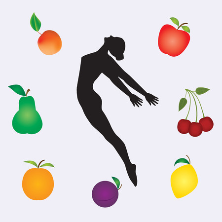 Sport healthy food sketch woman gymnast multicolor set fresh fruit isolated on white background art creative modern vector Çizim