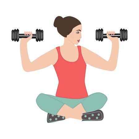 Sport yoga woman holding dumbbells isolated on white background art creative modern vector