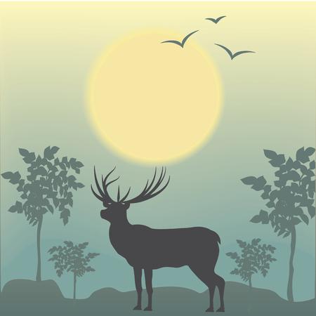 Herten vroege ochtendzon vogel bomen abstracte kunst creatieve moderne illustratie lichte achtergrond vector reizen poster