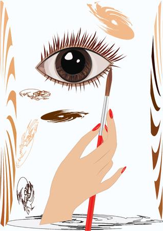 perfumery concept: Hand female, brush artistic, realistic eye, palette brown color, watercolor stroke, art creative modern vector illustration.