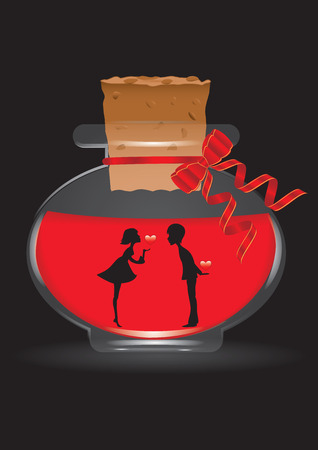 fragrances: Silhouette of a loving couple with hearts in hand on a glass transparent bottle with a stopper, red and black background, art creative modern vector illustration.