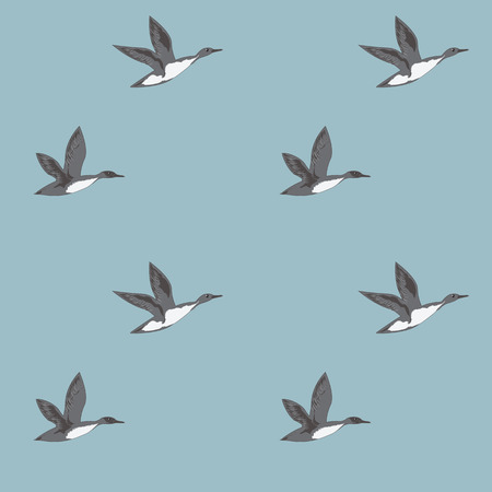 Pattern flying wild gray ducks on a light blue background art abstract creative modern vector illustration