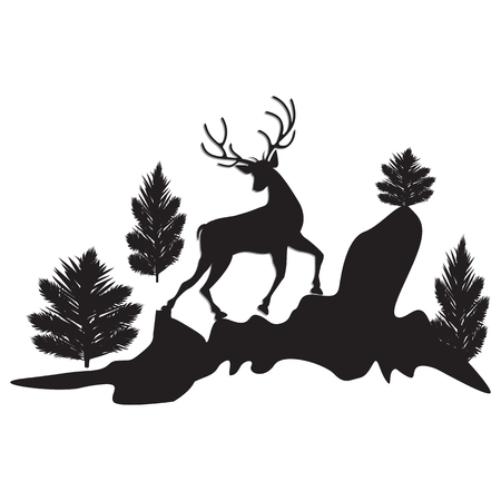 Silhouette running deer trees cliffs black isolated on white background - art abstract creative modern vector illustration