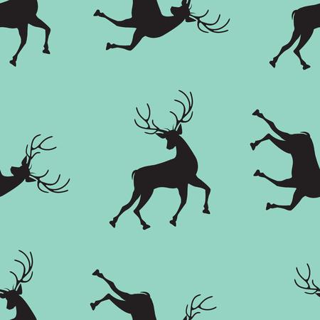 Pattern of a running deer on a light green background - art abstract creative modern vector illustration