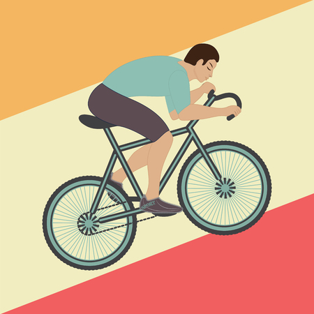 Cyclist riding a bike abstract art illustration creative modern flat style vector