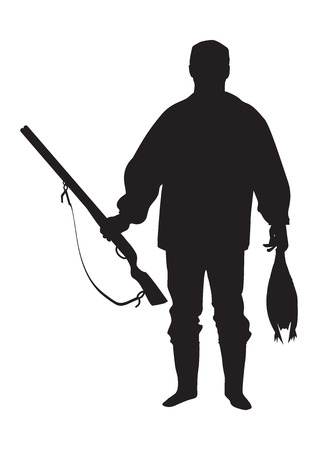 Sketch of a hunter with a gun holding a bird isolated on a white background art creative modern vector