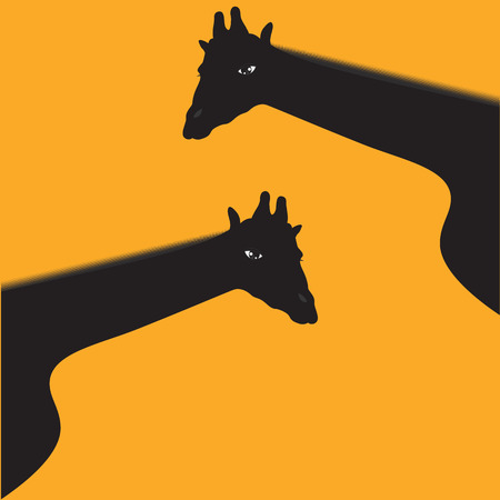 camelopard: Two giraffes, black, - isolated on yellow background - art creative abstract vector illustration.