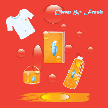 Banner - Cleaning products - set of detergents, T-shirt with a dirty spot - red background air bubbles - art creative modern vector illustration