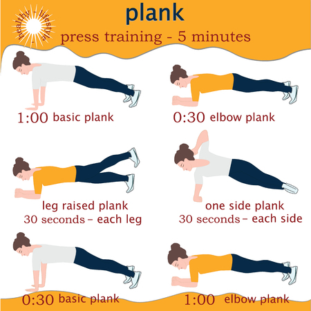 Poster - a woman makes Plank - white background -logo Healthy lifestyle - art creative illustration vector