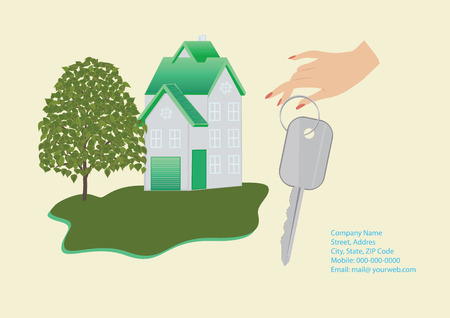 Banner Companies selling, buying, leasing real estate - house, female hand holding a key, details for communication, tree, lawn - light background - art creative modern illustration vector