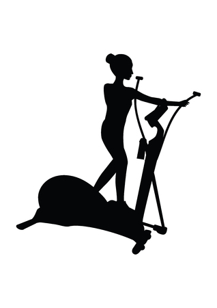Sketch Woman on an exercise bike - isolated - black on a white background - art creative illustrations vector Illustration