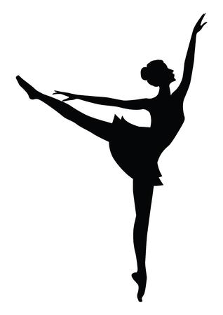 Danseuse, silhouette noire femelle, - isolé sur fond blanc - art créatif abstract vector illustration.