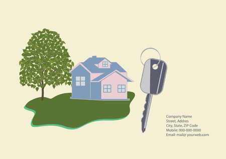 Banner Companies selling, buying, leasing real estate - cottage, key, contact details, tree, lawn - light background - art creative modern vector illustration