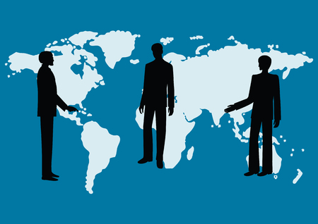 Silhouettes of men - colleagues, co-workers, boss and subordinates, against the background of the world map - blue background - art, creative, modern vector illustration Illustration